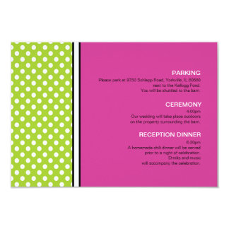 Green Polka Dot and Pink Wedding Enclosure Card