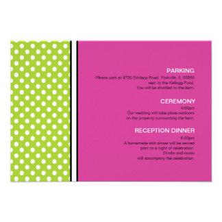 Green Polka Dot and Pink Wedding Enclosure Card Custom Announcement