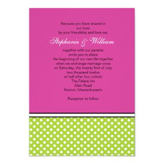 Green Polka Dot and Pink Wedding Invitation