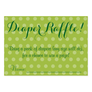 Green Polka Dot Baby Shower Diaper Raffle Tickets Large Business Cards (Pack Of 100)