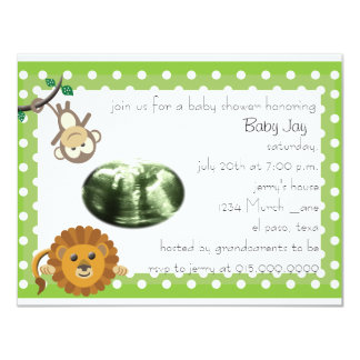 Green Polka-Dot Baby Shower Invite