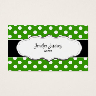Green Polka Dot Business Cards