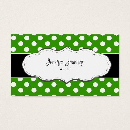 Green Polka Dot Business Cards