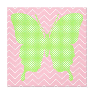 Green Polka Dot Butterfly Silhouette Canvas Print