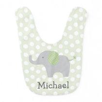 Green Polka Dot Elephant Bib