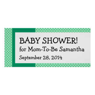 Green Polka Dot Gender Neutral Baby  Shower Banner Poster