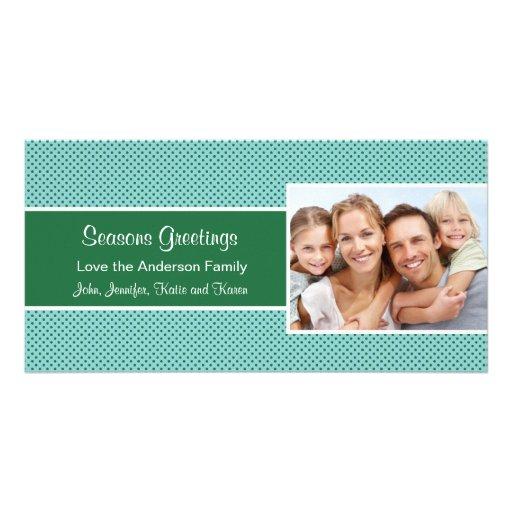 Green Polka Dot  Holiday Christmas Card Photo Greeting Card