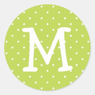 Green polka dot kiddo monogram letter custom stickers