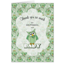 Green Polka Dot Owl Baby Shower Theme Card