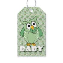 Green Polka Dot Owl Baby Shower Theme Gift Tags