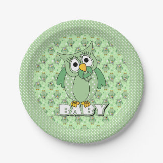 Green Polka Dot Owl Baby Shower Theme Paper Plate