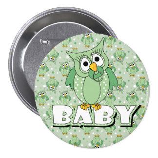 Green Polka Dot Owl Baby Shower Theme Pinback Button