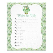 Green Polka Dot Owl Baby Shower Theme - Wishes Flyer