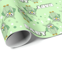 Green Polka Dot Owls for a Baby Shower Theme Wrapping Paper