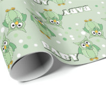 Green Polka Dot Owls for a Baby Shower Wrapping Paper