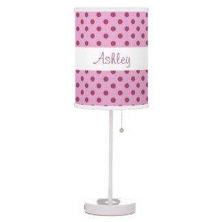 Green Polka Dot Pattern Custom Name Lamp V05 Desk Lamp