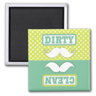 Green Polka Dot Pattern Mustache Clean Dirty 2 Inch Square Magnet
