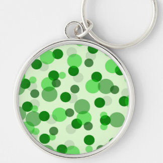 Green Polka Dot Pattern Silver-Colored Round Keychain