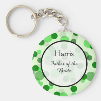 Green Polka Dot Pattern Wedding Keepsake Basic Round Button Keychain
