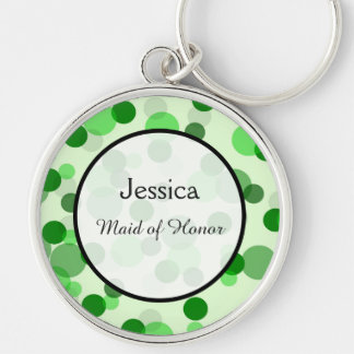 Green Polka Dot Pattern Wedding Keepsake Silver-Colored Round Keychain