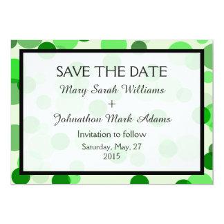 Green Polka Dot Pattern Wedding Save The Date Card
