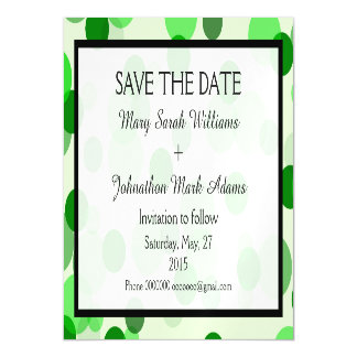 Green Polka Dot Pattern Wedding Save The Date Magnetic Card