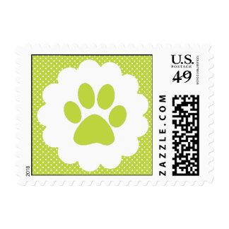 Green Polka Dot Paw Print Postage