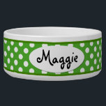 "Green Polka Dot Personalized Ceramic Dog Bowl<br><div class=""desc"">This custom Green and White Polka Dots Personalized Ceramic Dog Bowl is a cute choice for a large dog. This cool and unique polkadot dog bowl makes a charming gift for your very best friend.</div>"