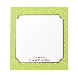 Green polka dot personalized girly cute notepad