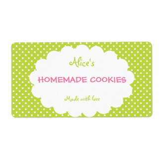 Green Polka Dot Personalized Homemade Cookies Label