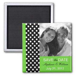 Green Polka Dot Photo Save The Date Magnet