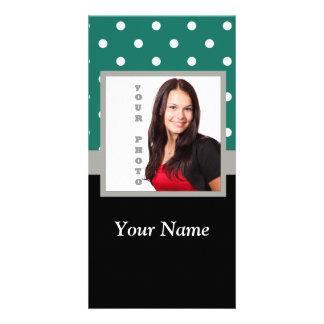 Green polka dot photo template