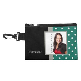 Green polka dot photo template accessory bags