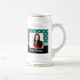 Green polka dot photo template beer stein