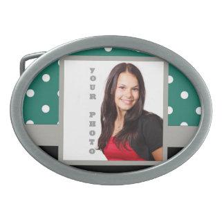 Green polka dot photo template belt buckle