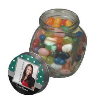 Green polka dot photo template glass candy jar