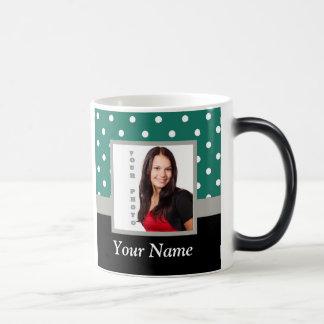 Green polka dot photo template magic mug