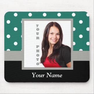 Green polka dot photo template mouse pad