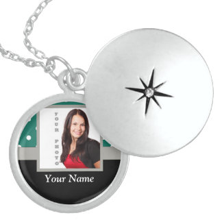 Green polka dot photo template sterling silver necklace