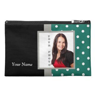 Green polka dot photo template travel accessories bag
