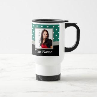 Green polka dot photo template travel mug