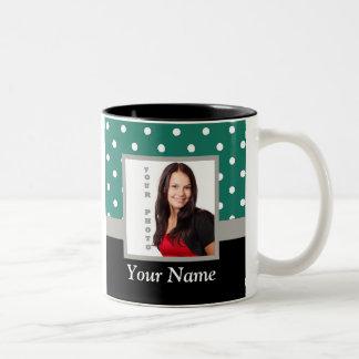 Green polka dot photo template Two-Tone coffee mug