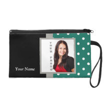 Green polka dot photo template wristlet purse