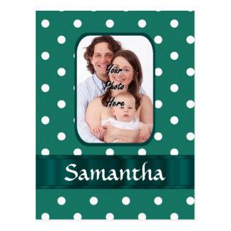 Green polka dot postcard