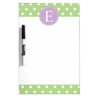 Green Polka Dot Purple Monogram Dry-Erase Board