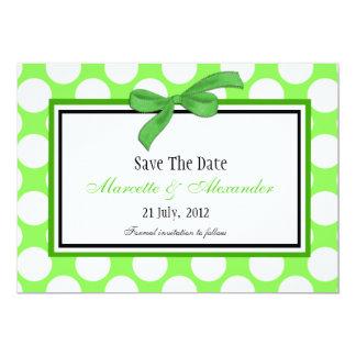 Green Polka Dot Save The Date Card
