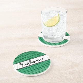 Green Polka Dot Scallops Personalized Name Drink Coaster