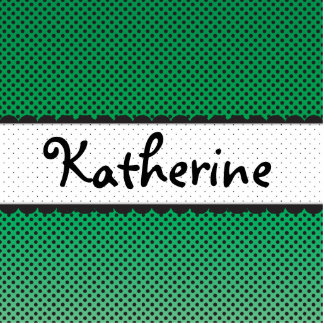 Green Polka Dot Scallops Personalized Name Statuette