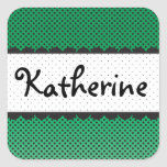 Green Polka Dot Scallops Personalized Name Stickers