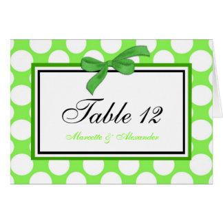 Green Polka Dot Table Cards